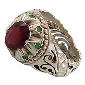 انگشتر نقره زمرد و یاقوت سرخ اشرافی زنانه