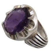 انگشتر نقره آمتیست مرغوب خوش رنگ مردانه