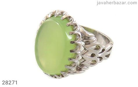 عکس انگشتر نقره عقیق سبز درشت مردانه