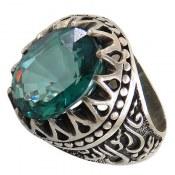 انگشتر نقره توپاز سبز مرغوب رکاب حسین منی و انا من حسین مردانه