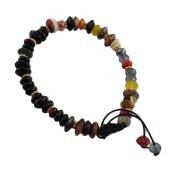 دستبند جید و عقیق طرح رنگین کمان زنانه