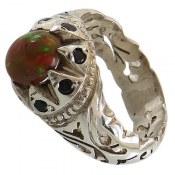 انگشتر نقره اپال و یاقوت کبود شاهانه مردانه