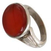 انگشتر نقره عقیق یمن قرمز خوش رنگ مردانه دست ساز