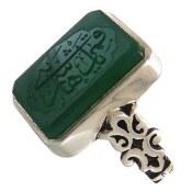انگشتر نقره عقیق سبز اشرافی درشت حکاکی یا قمر بنی هاشم زنانه