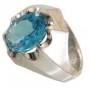 انگشتر نقره توپاز آبی اشرافی مردانه