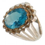 انگشتر نقره توپاز آبی درشت اشرافی مردانه