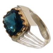 انگشتر نقره توپاز آبی شاهانه درشت مردانه