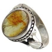 انگشتر نقره کهربا لهستانی زیبا مردانه