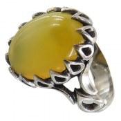 انگشتر نقره عقیق زرد شرف الشمس دور اشکی مردانه