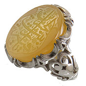 انگشتر نقره عقیق زرد درشت یا رقیه بنت الحسین مردانه
