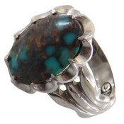 انگشتر نقره فیروزه نیشابوری شجر زیبا مردانه