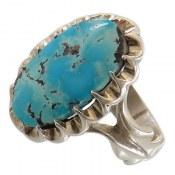 انگشتر نقره فیروزه نیشابوری درشت و خوش رنگ مردانه