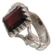انگشتر نقره یاقوت سیلان چهارگوش مردانه