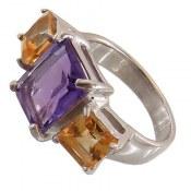 انگشتر نقره آمتیست سیترین لوکس زنانه