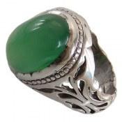 انگشتر نقره عقیق سبز دامله مردانه