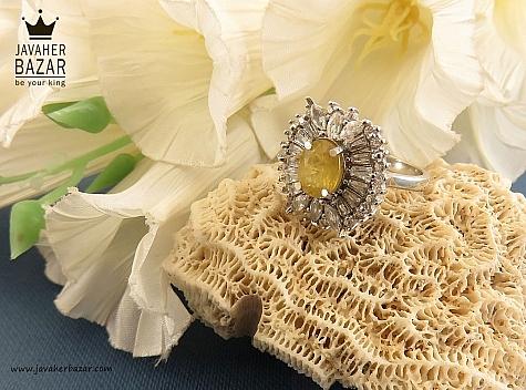 انگشتر نقره یاقوت آفریقایی زرد زنانه