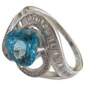 انگشتر نقره توپاز آبی طرح عشق زنانه