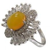 انگشتر نقره عقیق زرد شرف الشمس طرح هستی زنانه