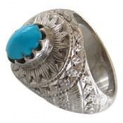 انگشتر نقره فیروزه نیشابوری خوش طبع لوکس مردانه