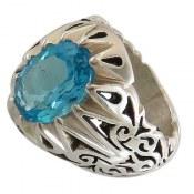 انگشتر نقره توپاز آبی فاخر مردانه