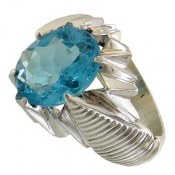 انگشتر نقره توپاز آبی لوکس مردانه