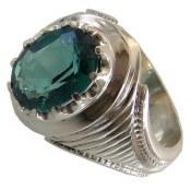 انگشتر نقره توپاز خوش رنگ فاخر مردانه