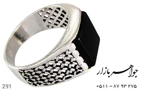 انگشتر نقره عقیق سیاه طرح سیاه قلم - 291