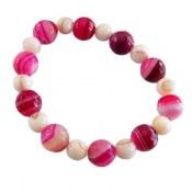 دستبند صدف و عقیق سلیمانی خوش رنگ زنانه