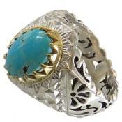 انگشتر نقره فیروزه نیشابوری خوش رنگ فاخر مردانه