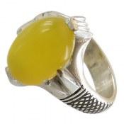 انگشتر نقره عقیق زرد چهار چنگ مردانه