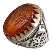 انگشتر نقره عقیق یمن حکاکی لبیک یا حسین ع درشت مردانه