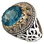 انگشتر نقره توپاز آبی کم نظیر و فاخر مردانه