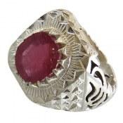 انگشتر نقره یاقوت سرخ فاخر و سلطنتی مردانه