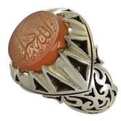 انگشتر نقره عقیق یمن حکاکی الله اکبر دورچنگ و درشت مردانه
