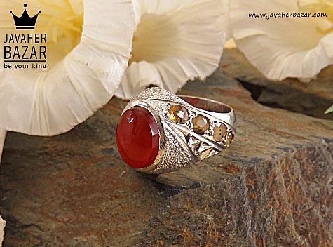 انگشتر نقره یاقوت عقیق یمن ارزشمند فاخر مردانه دست ساز - 29476