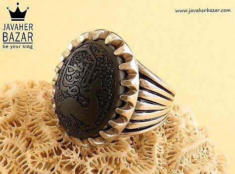 انگشتر نقره حدید صینی یا ضامن آهو مردانه - 29478