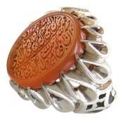 انگشتر نقره عقیق یمن حکاکی و من یتق الله درشت دور چنگ مردانه