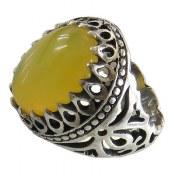 انگشتر نقره عقیق زرد حکاکی شرف الشمس فاخر مردانه