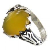 انگشتر نقره عقیق حکاکی شرف الشمس دور چنگ خوش نقش مردانه