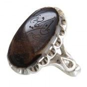 انگشتر نقره عقیق شجر حکاکی و ان یکاد درشت مردانه