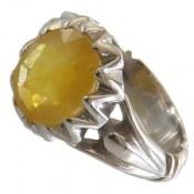 انگشتر نقره یاقوت زرد دورچنگ فاخر مردانه