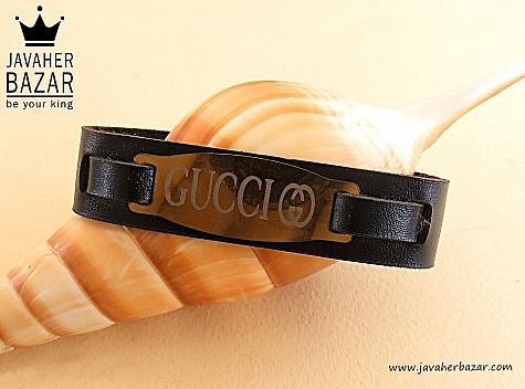 دستبند چرم طبیعی طرح گوچی زیبا و جذاب - 29608