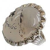 انگشتر نقره عقیق شجرخطی درشت دور چنگ مردانه
