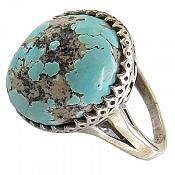 انگشتر نقره فیروزه نیشابوری زیبا و فاخر زنانه