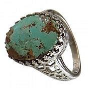 انگشتر نقره فیروزه نیشابوری خوش رنگ زنانه
