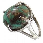 انگشتر نقره فیروزه نیشابوری درشت و زیبا زنانه