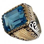 انگشتر نقره توپاز آبی خوش رنگ و خوش نقش مردانه