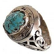 انگشتر نقره فیروزه نیشابوری شاهانه و فاخر مردانه
