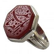 انگشتر نقره عقیق حکاکی یا غریب الغربا درشت مردانه