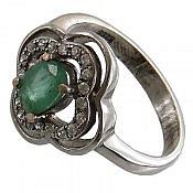 انگشتر نقره زمرد سبز خوش رنگ زنانه